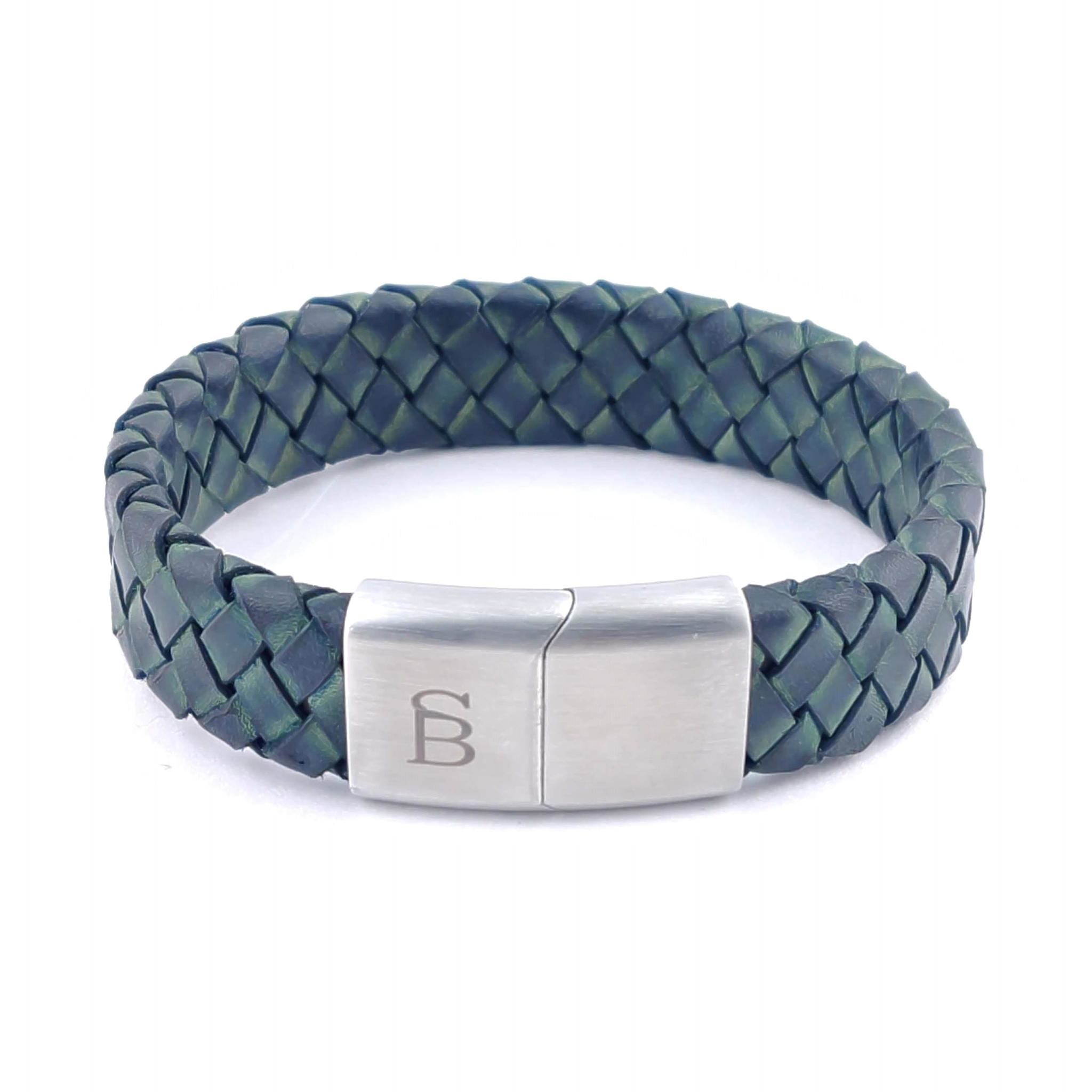 Steel & Barnett Leather bracelet Preston - Matt Green - Size M