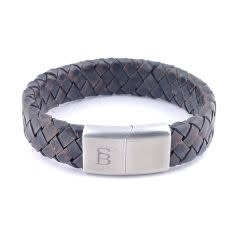 Steel & Barnett Leather bracelet Preston - vintage brown - Size L
