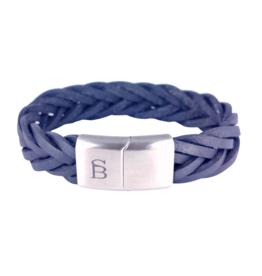 Steel & Barnett Leather bracelet Preston - Navy - Size S