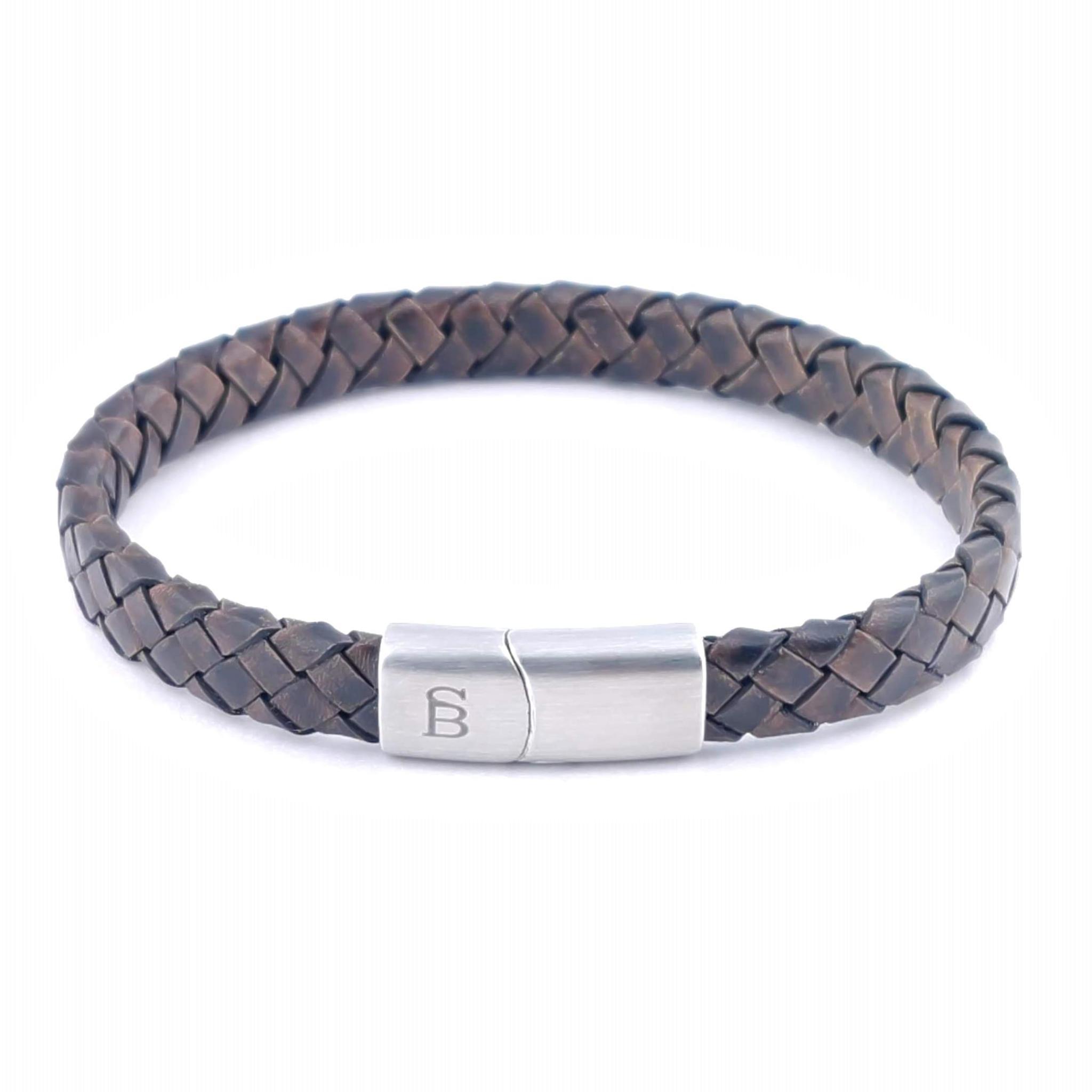 Steel & Barnett Leather bracelet Riley - Vintage Brown - Size L