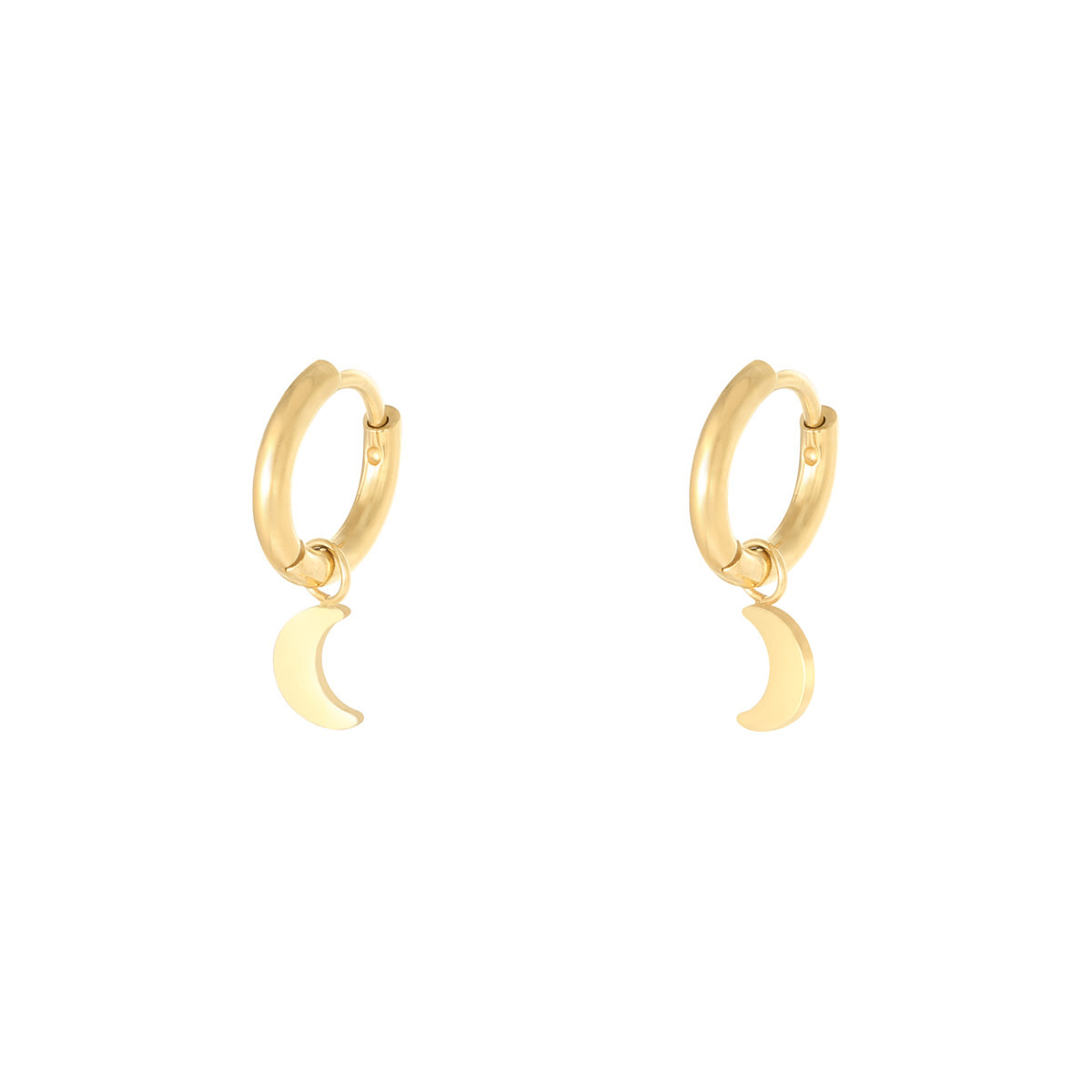 With love Earrings moon gold