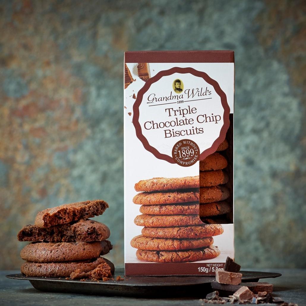 Grandma Wild's Triple chocolate chips cookies 150 gr.