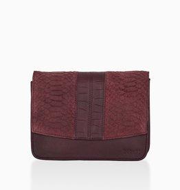 Détail Detail Hope handbag Aubergine anaconda 21 x 7 x 15 cm