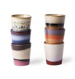 HK Living Ceramic 70's mugs (set of 6) 7,5x7,5x8cm