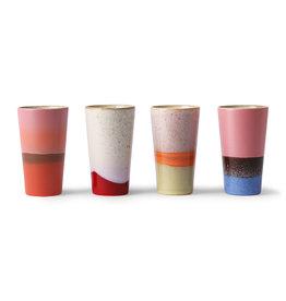 HK Living Ceramic 70's latte mugs (set of 4) 7,5x7,5x13cm
