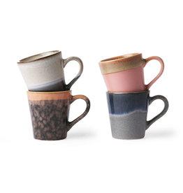 HK Living Ceramic 70's espresso mugs - (set of 4) 8x5,8x6,2cm