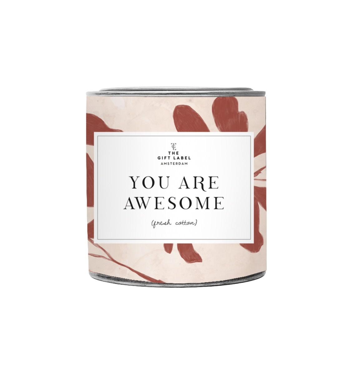 The Gift Label Candle tin 310 gr. You are awesome - fresh cotton