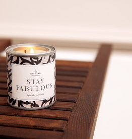 The Gift Label Candle tin 90 gr. 'Stay fabulous - fresh cotton