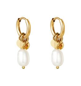 With love Earrings pearl drops