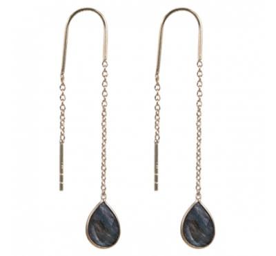 Treasure Earrings GP onyx (labradorite)