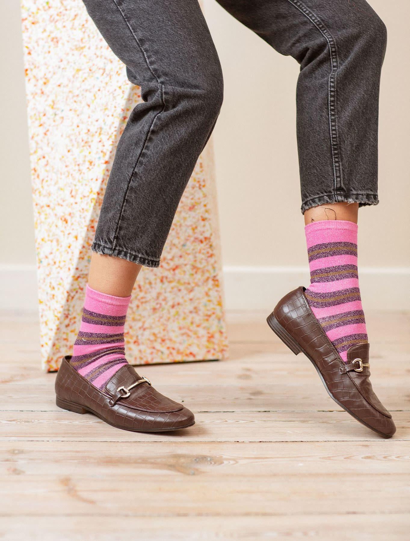 Beck Söndergaard Dalea big stripe socks - Rose violet 37/39