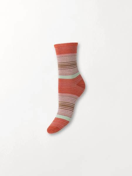 Beck Söndergaard Imma thin stripe socks - Hot sauce 39/41