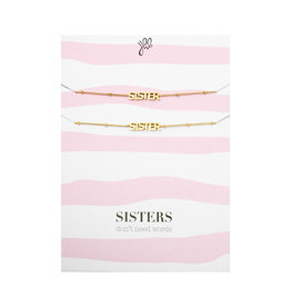 With love Bracelet set sisters don't need words - gold
