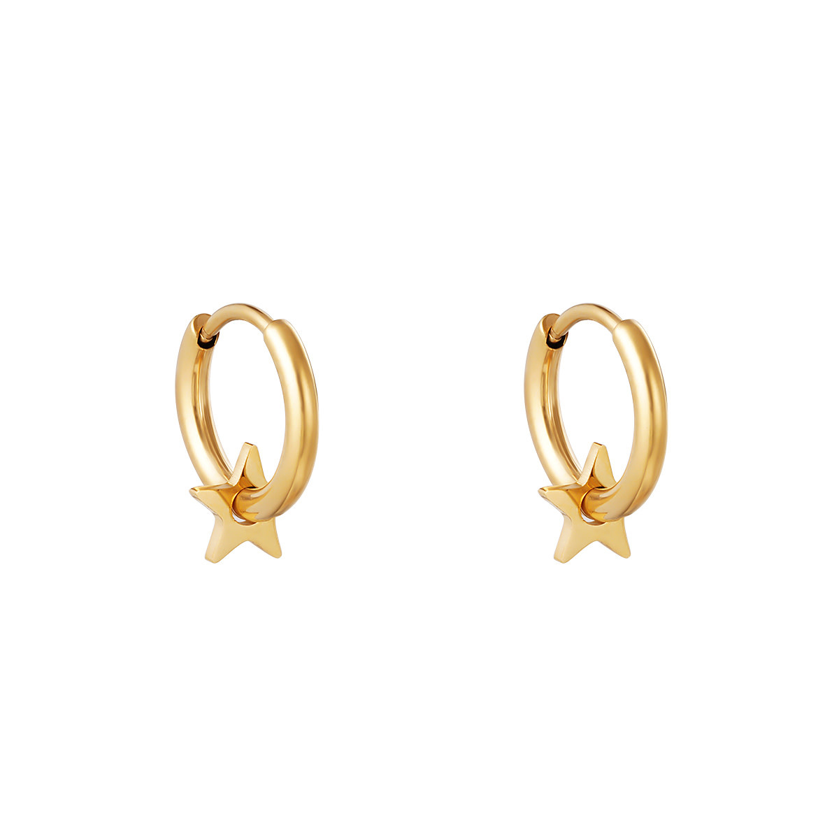 With love Earrings lonely star gold