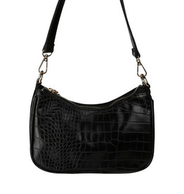 With love Handbag croco - Black 20 x 14 cm