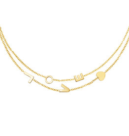 With love Necklace love double gold
