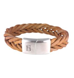 Steel & Barnett Leather bracelet Preston - Tan- Size M