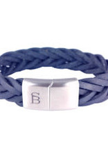 Steel & Barnett Leather bracelet Preston - Navy - Size L