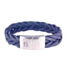 Steel & Barnett Leather bracelet Preston - Navy - Size L