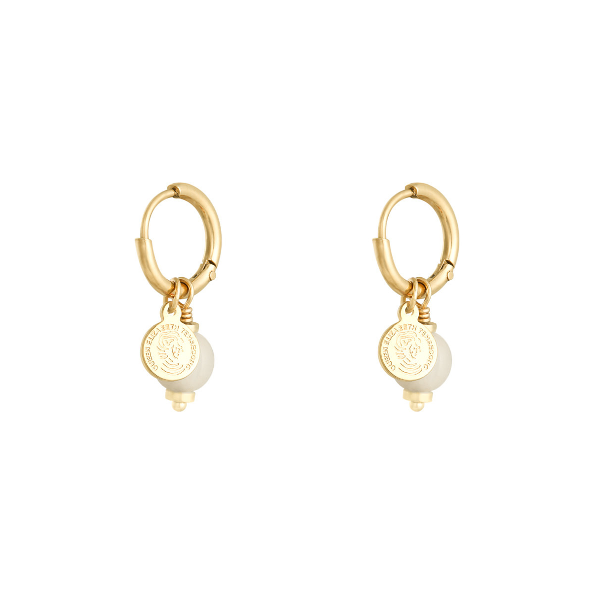 With love Earrings disco ball off white
