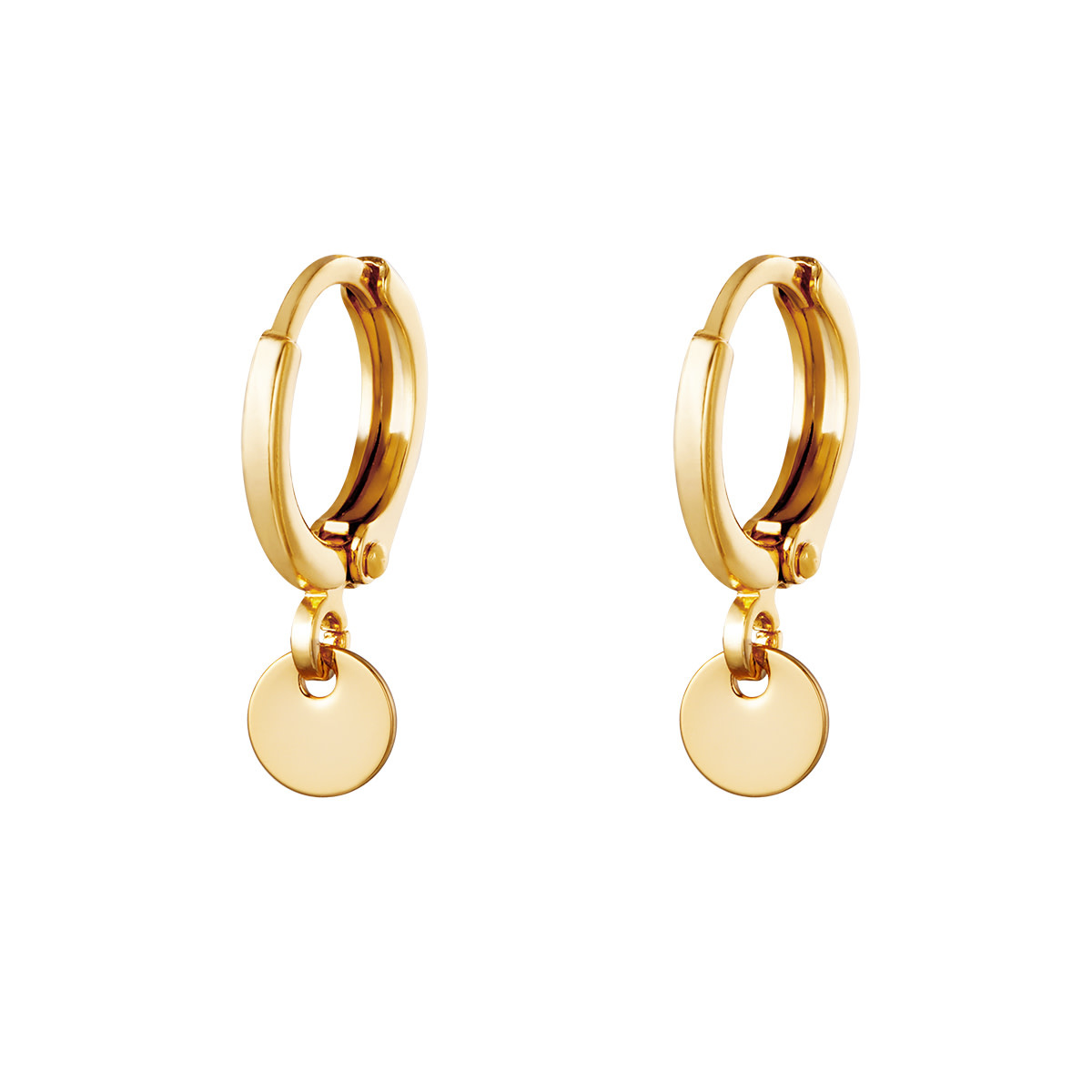 With love Earrings plain coin gold