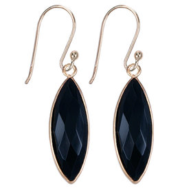 Treasure Silver earrings gold plated - marquis onyx
