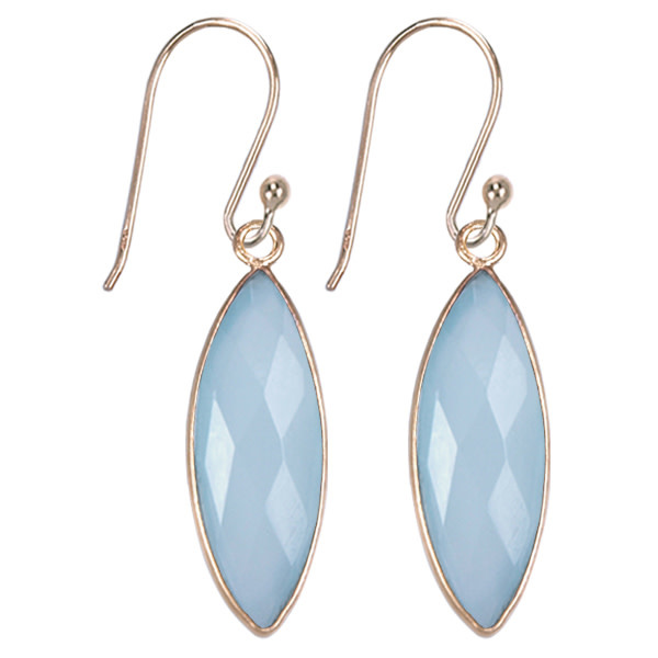 Treasure Silver earrings gold plated - marquis aqua chalcedone