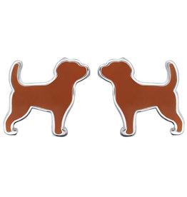 Treasure Silver stud earrings dog