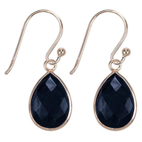Treasure Silver earrings drop GP 9 x 13 mm black onyx