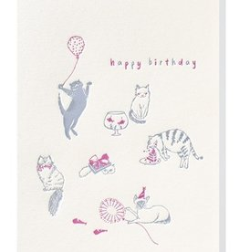 Papette Papette greeting card + enveloppe 'Happy birthday cats'