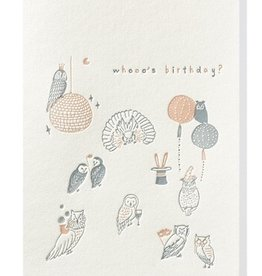 Papette Papette greeting card + enveloppe 'Whooo's birthday?'