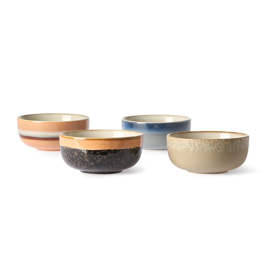 HK Living Ceramic 70's tapas bowls (set of 4) 11x11x5cm