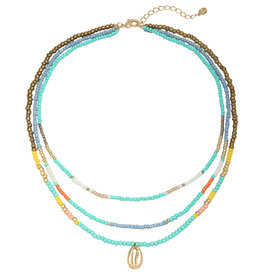 With love Necklace beach beads - blue