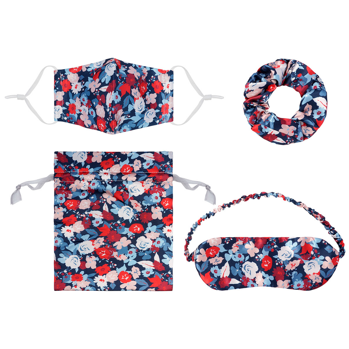 With love Gift set mouth mask - scrunchie - sleeping mask - bag FLOWERS