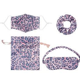 With love Gift set mouth mask - scrunchie - sleeping mask - bag  LEOPARD