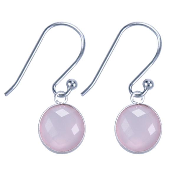Treasure Silver earrings round 8 mm - rosequartz