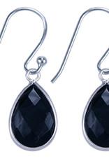 Treasure Silver earrings drop 9 x 13 mm black onyx
