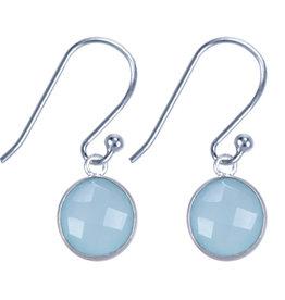 Treasure Silver earrings round 8 mm - aqua