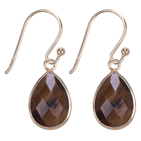 Treasure Silver earrings drop GP 9 x 13 mm tiger eye