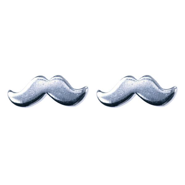 Treasure Silver earrings moustache 4 x 10 mm