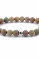 Steel & Barnett Stones bracelet basic - Matt rainbow - Size M