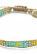 With love Bracelet glass beads - beige yellow