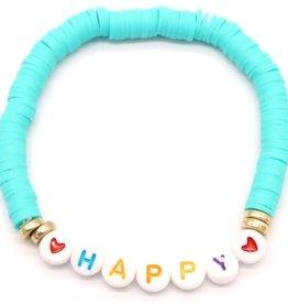With love Surf bracelet HAPPY aqua