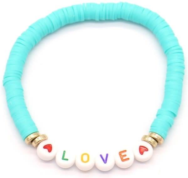 With love Surf bracelet LOVE aqua