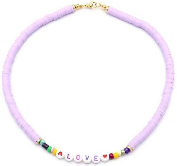 With love Surf necklace LOVE purple