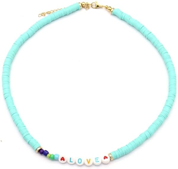 With love Surf necklace LOVE aqua