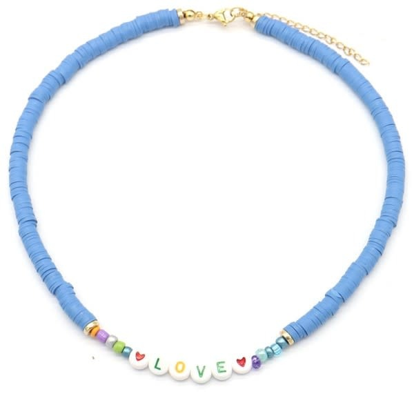 With love Surf necklace LOVE blue