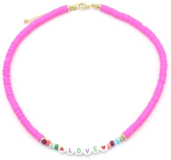 With love Surf necklace LOVE pink