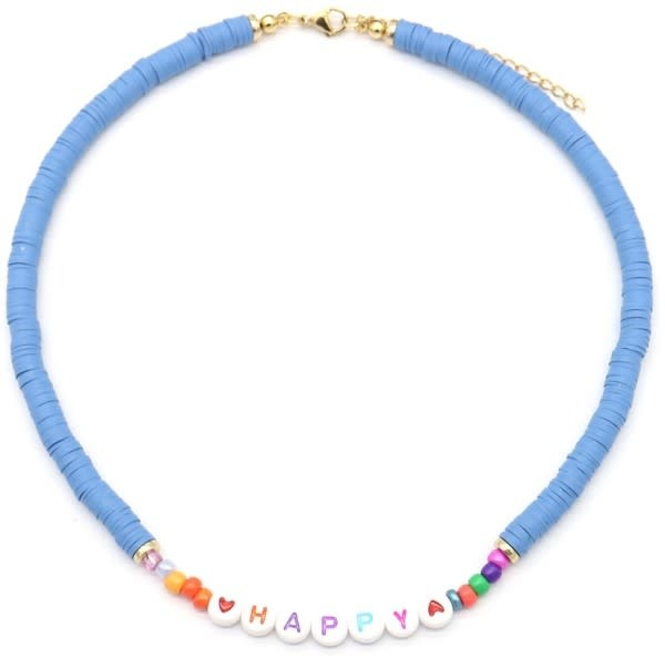 With love Surf necklace HAPPY  blue