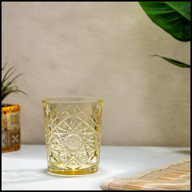 Libbey drinking glass Hobstar Pale Yellow – 35,5 cl